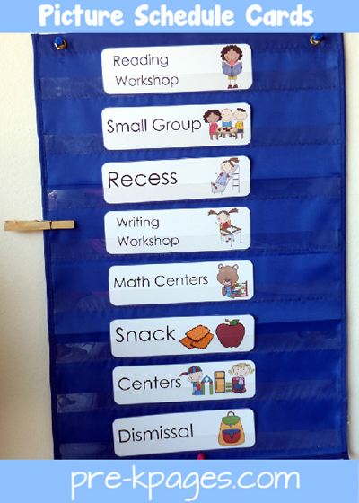 Printable Daily Picture Schedule Cards For Preschool And Kinder Via