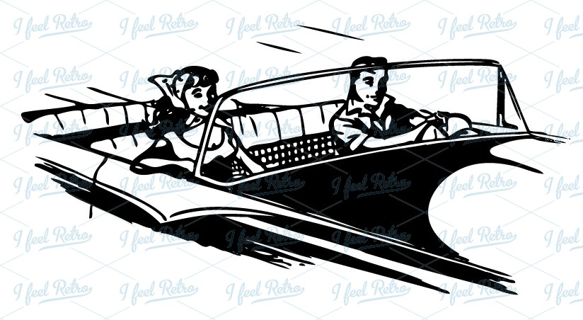 Retro Clipart  Young Couple In Convertible   Authentic Vintage