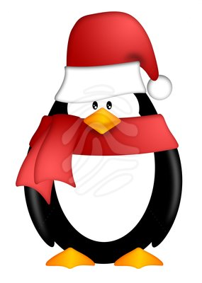 Scarf Clipart Penguin With Santa Hat And Red Scarf Clipart Penguin