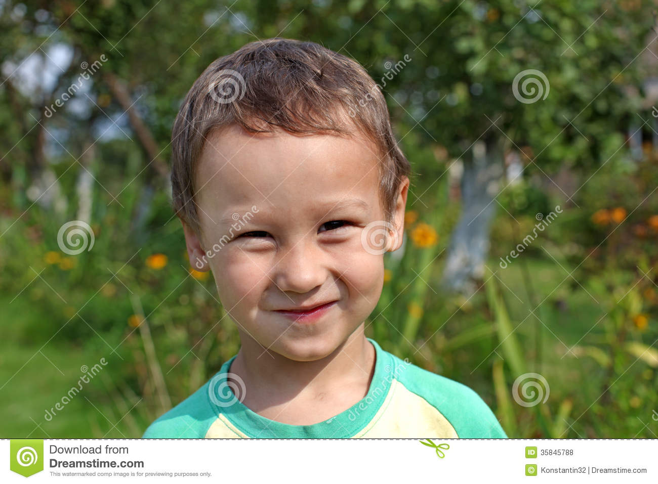 Stock Photos  Portrait Of A Funny Little Boy 3 4 Year Old Outdoors