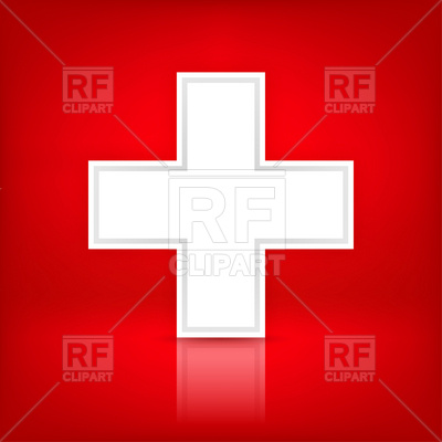 Switzerland Flag   White Cross Over Red Download Royalty Free Vector