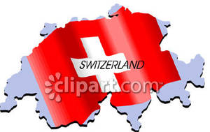 Switzerland With Swiss Flag   Royalty Free Clipart Picture