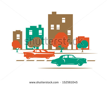 Two 50 S Automobiles Cruising Down Main Street With Buildings And
