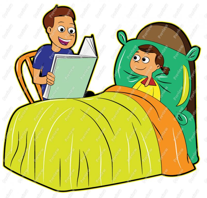 Dad reading clipart clipart suggest for Bed stories online