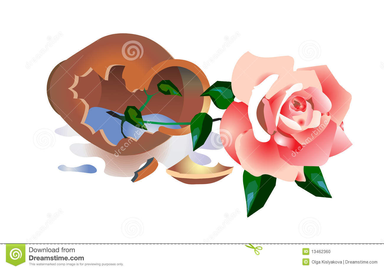 Broken Vase With A Rose Stock Photo   Image  13462360
