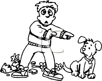 Cartoon Of A Boy Blaming His Dog For A Broken Vase Clipart Image Jpg