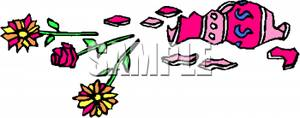 Clipart Image Of Flowers On The Floor Near A Broken Vase