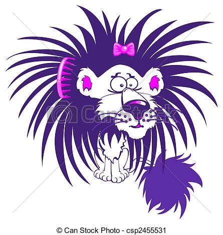 Clipart Of Purple Lion   Crazy Purple Lion Character With A Bad Hair