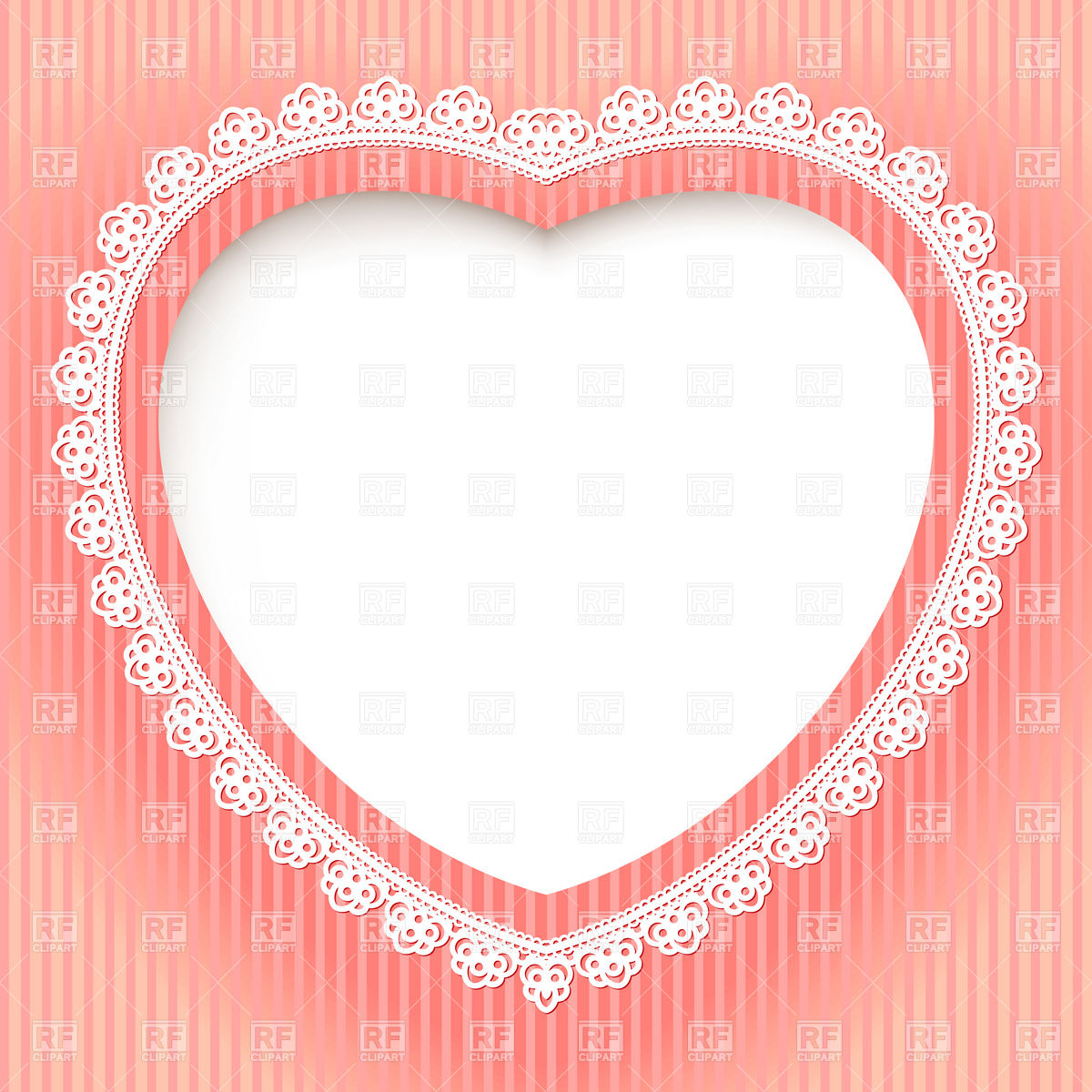 Decorative Heart Shaped Lace Frame   Festive Card Template Download
