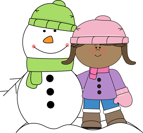 Girl With Snowman Clip Art   Girl With Snowman Image