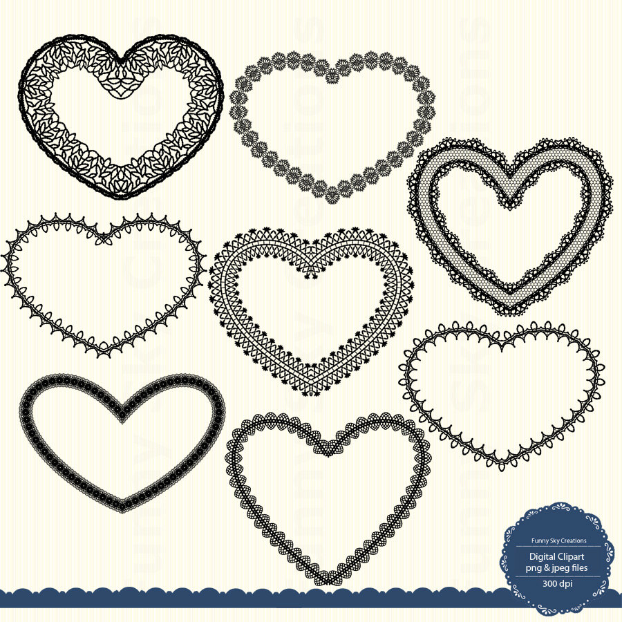 Lace Heart Clipart Digital Frame Doilies