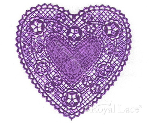 Lace Heart Clipart Purple Foil Heart Paper