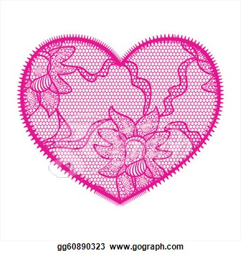 Lace Heart Pink Applique  May Be Used As Decoration  Eps Clipart