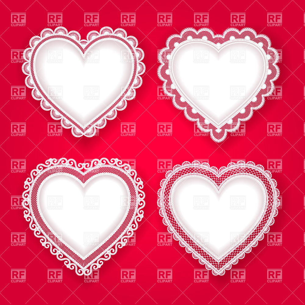 Lace Heart Vector Set Of White Hearts With Lace