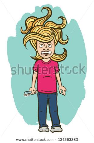 Messy Hair Cartoon Messy Hair   Stock Vector