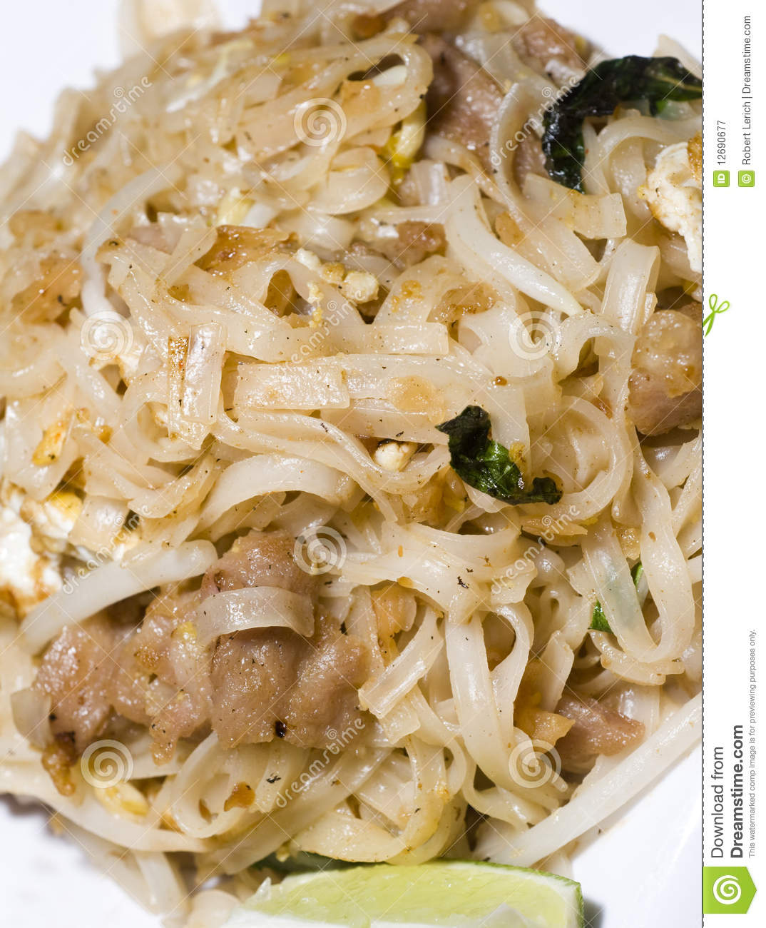 Pai Thai Food Rice Noodles With Roast Pork Scallions And Fried Egg