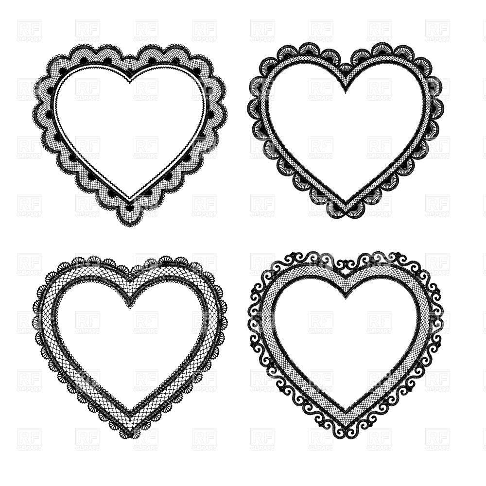 Set Of Black Lace Hearts 28721 Design Elements Download Royalty