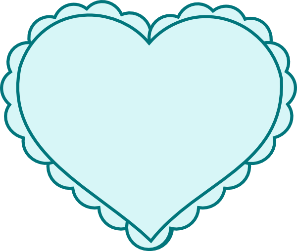 Teal Heart With Lace Outline Clip Art At Clker Com   Vector Clip Art
