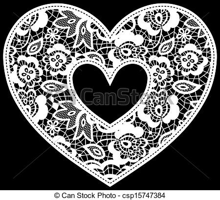 Vector   Lace Wedding Heart Applique   Stock Illustration Royalty