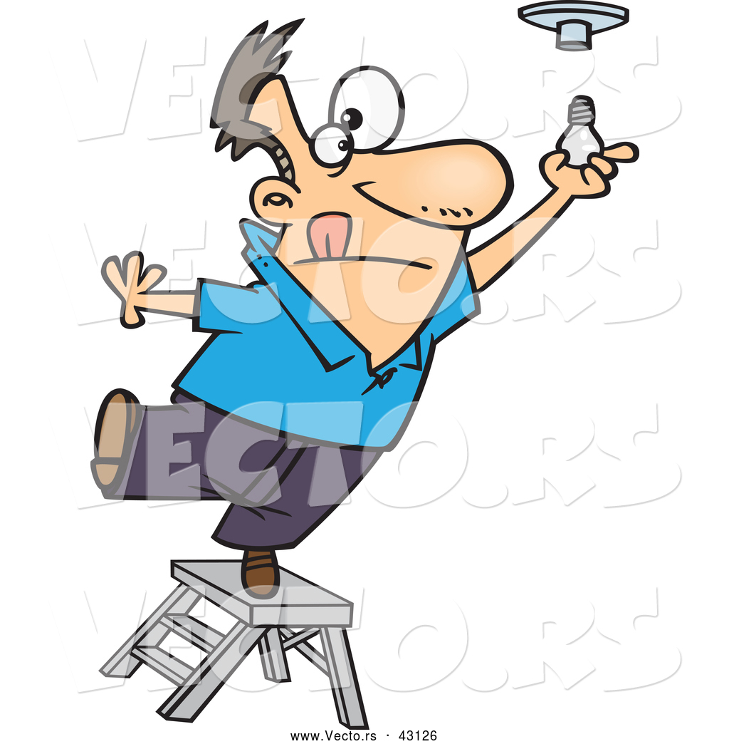 Vector Of A Short Cartoon Man Standing On A Ladder While Trying To