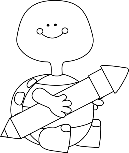 Black And White Turtle Holding A Pencil Clip Art   Black And White