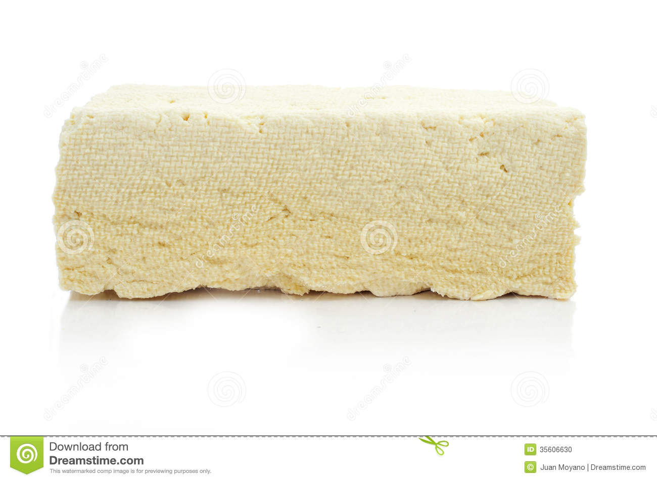 Block Of Tofu On A White Background