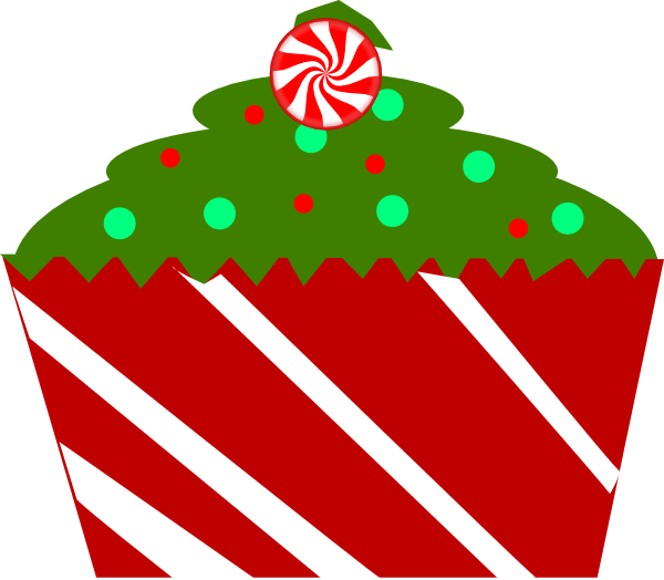 Christmas Cupcake With Striped Wrapper Clip Art At Clker Com   Vector