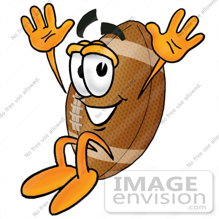 Clip Art Graphic Of A Football Cartoon Character Jumping    23877 By