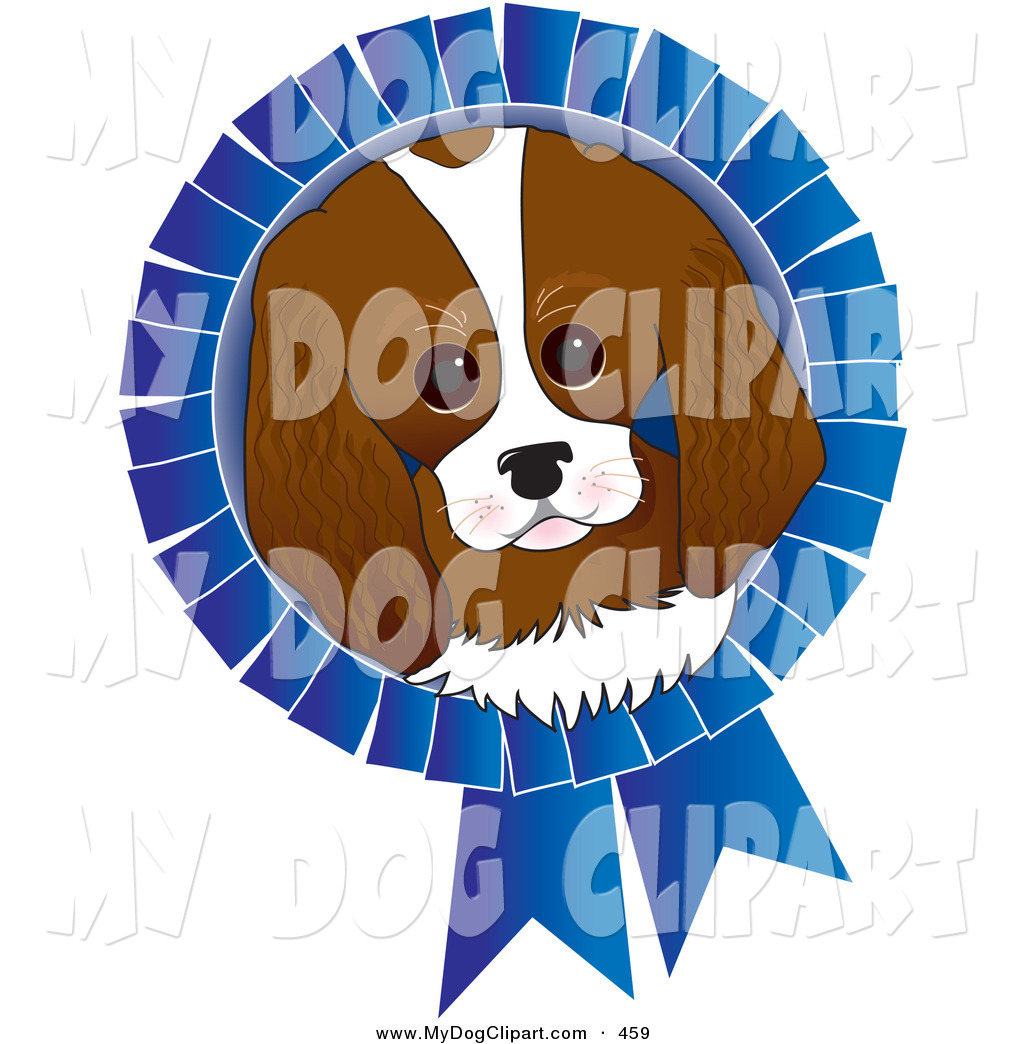 Dog Face On A Blue Prize Ribbon For A Dog Show On White By Maria Bell