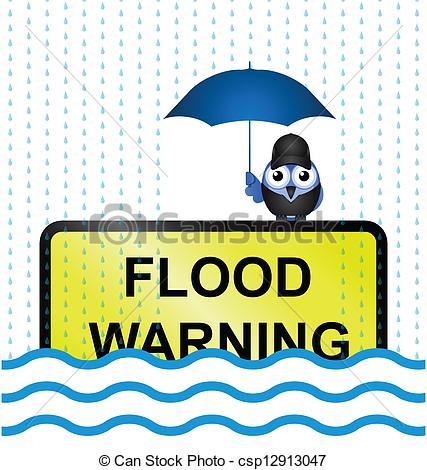 Eps Vector Of Flood Warning Sign   Half Submerged Flood Warning Sign