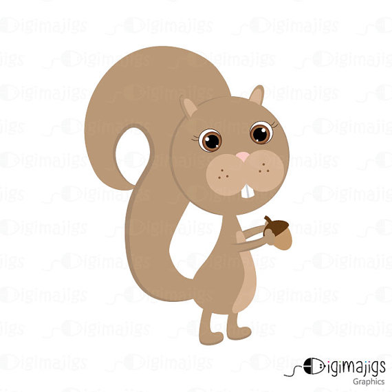 Fall Squirrel   Cute Clipart Squirrel With Acorn   Commercial And