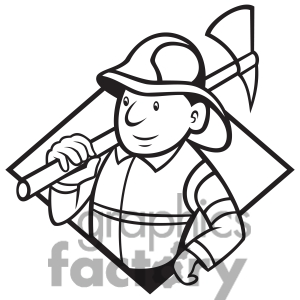Firefighter Clipart Black And White 1414771 Black And White Fireman