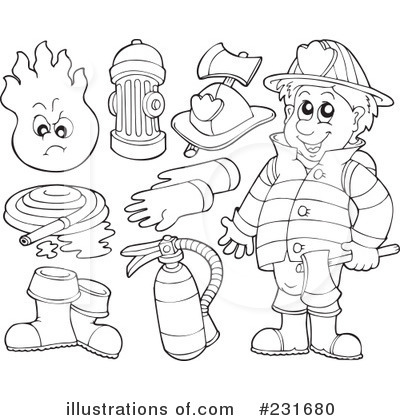 Fireman Clipart Black And White Royalty Free  Rf  Fireman