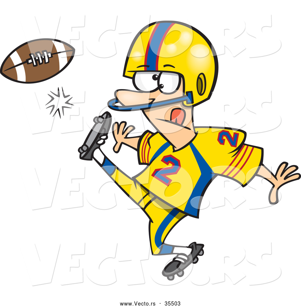 Football Kick Clipart Vector Of A Cartoon Football Player Kicking The