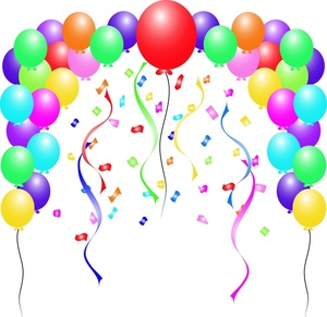 Free Party Clip Art Image   Birthday Balloons And Confetti With
