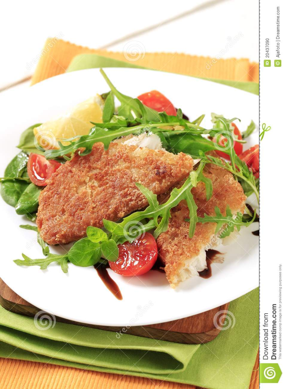Fried Fish And Fresh Salad Stock Photo   Image  20437090