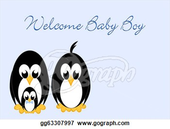 Illustrations   Welcome Baby   Penguin Boy  Stock Clipart Gg63307997