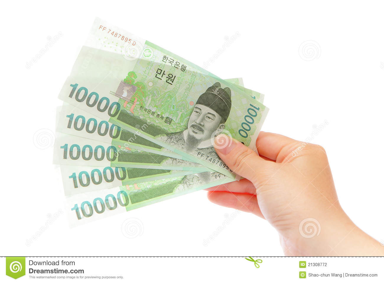 Korea Money Won And Hand Stock Photography   Image  21308772