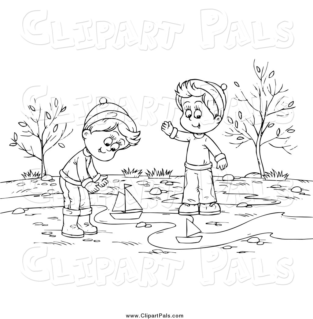 Larger Preview  Pal Clipart Of A Black And White Boys Playing With