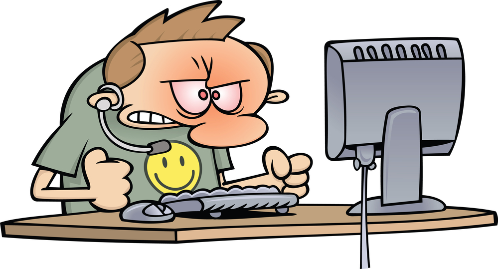 Royalty Free  Rf  Clipart Illustration Of An Angry Computer Supp