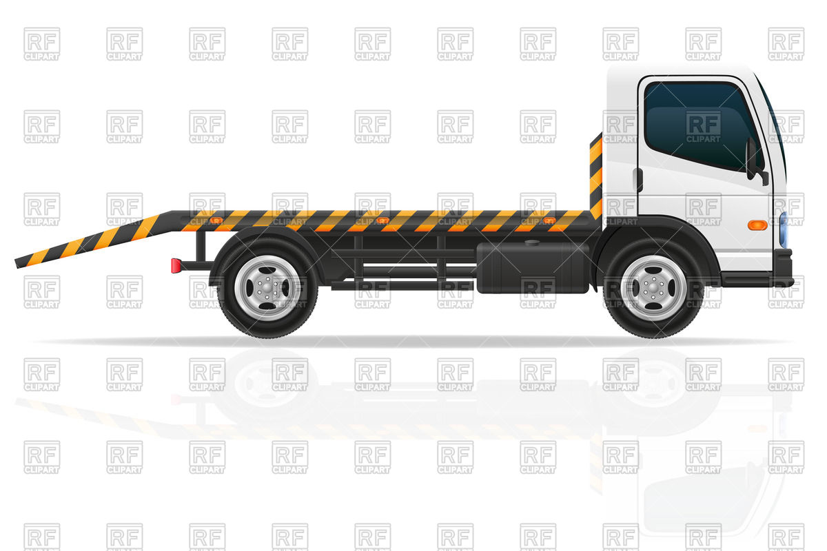 Transportation   White Tow Truck Download Royalty Free Vector Clipart