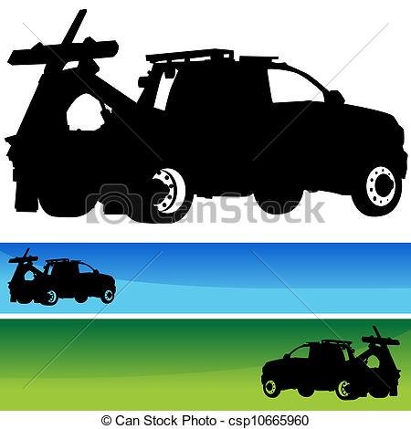 Vector Of Tow Truck Silhouette Banner Set   An Image Of A Tow Truck