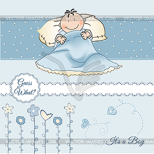 Welcome New Baby Boy   Vector Clipart