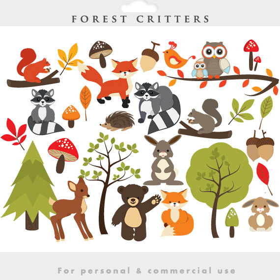 Woodland Clipart   Forest Clip Art Cute Whimsical Critters Forest