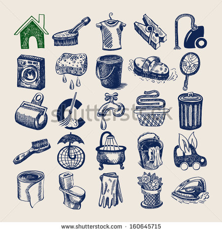 25 Hand Drawing Doodle Icon Set Cleaning And Hygiene Service   Stock