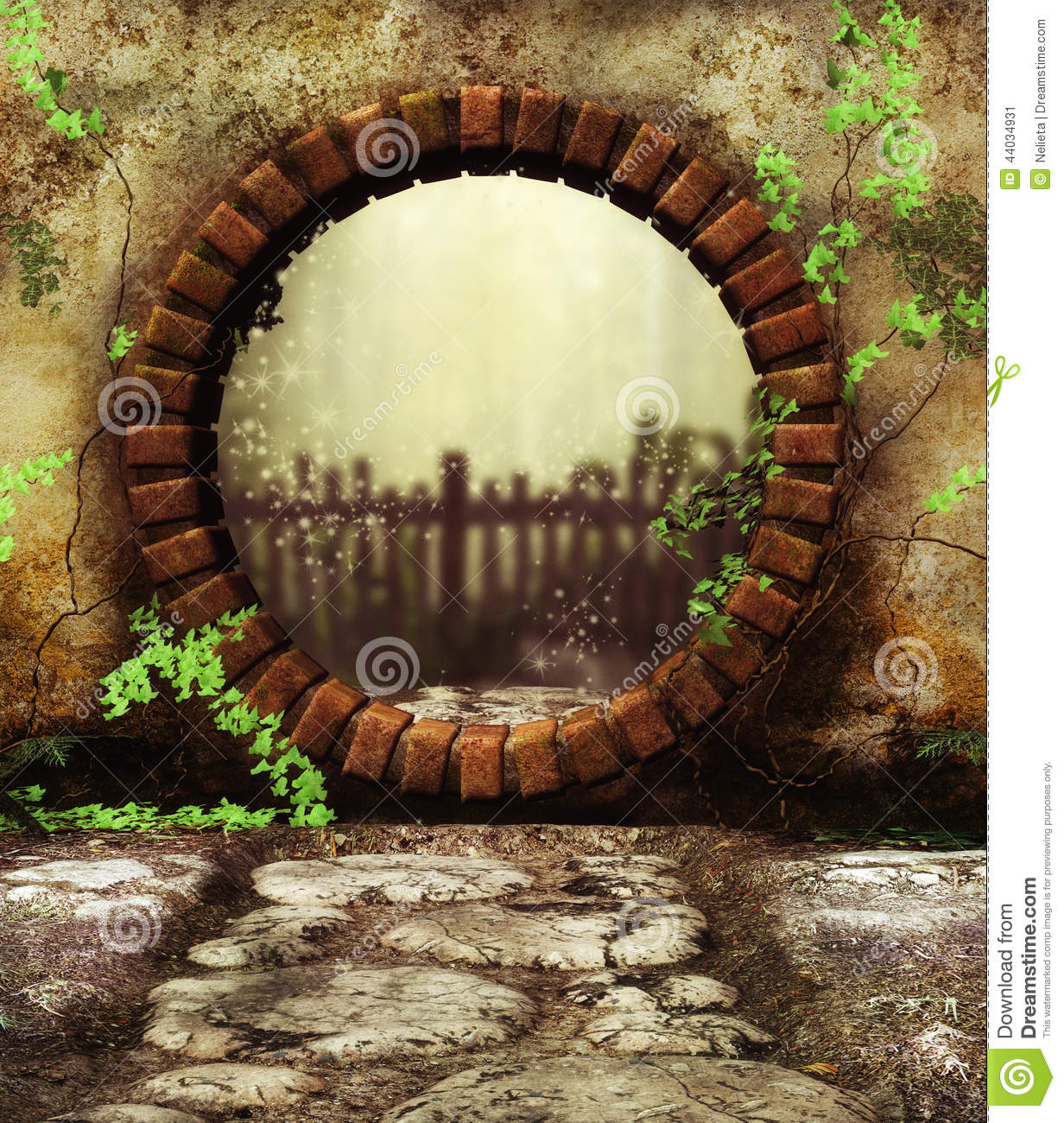 3d Digital Render Of A Round Garden Gate And Entry To Secret Garden