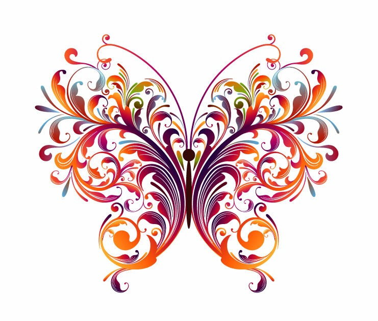 Abstract Floral Butterfly Vector Graphic   Free Vector Graphics   All