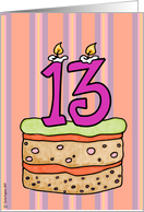 Birthday   Cake   Candle 13 Card   Product  62038