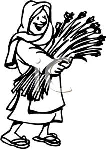 Black And White Woman Carrying Wheat   Royalty Free Clipart Picture