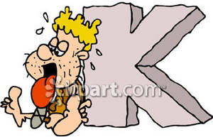 Caveman Carving The Letter K   Royalty Free Clipart Picture